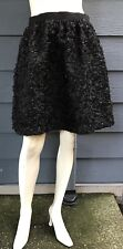 French Connection Women's Skirt Black Sequin Floral Textured Lined Pockets Sz 6