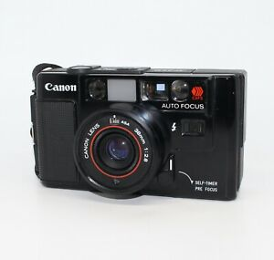 Canon AF35M 35mm Film Compact Camera with case and filter – Classic 1980's Model