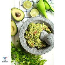 "Mexican Molcajete Stone Grinding Bowl Granite Mortar And Pestle Pesto Large 6"""