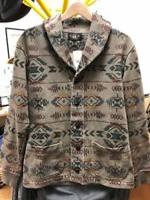 RRL Ralph Lauren Printed Navajo Shawl Collar Cardigan Grey Faded Sweater NWT S