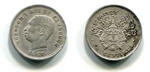 50 Centimes Cambodia 1860  Silber  RAR !!!