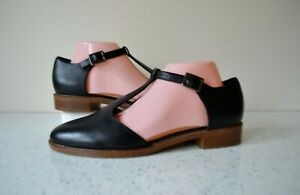 """NEW CLARKS TAYLOR PALM BLACK LEATHER CUSHION SOFT """"T"""" BAR SHOES UK 7.5D RRP £49"""