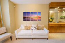 Sunset beach print on canvas, beach canvas prints 5 panel print sunset wall art