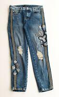 Zara Pinstripe Floral Embroidered High Waist Denim Skinny Jeans Size 4
