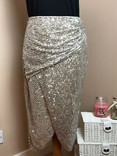 LIPSY Gold Sequin Wrap Skirt - Size 12 - Party Cocktail Wedding Evening Midi