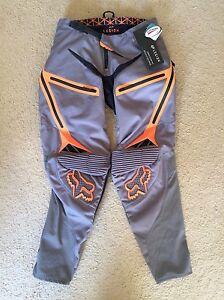 NEW! Fox Racing Legion Men's Off-Road Motorcycle Pants - Grey/Orange / 30 32 36