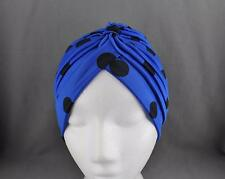 Blue Black dots hair wrap Turban twist pleated ladies head cap cover turband