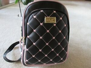 Luv Betsey Johnson Quilted Hearts Black/Pink With Spots Backpack New With Tag