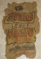Vintage Cadillac U.S. No.1 Idaho Potatoes Burlap Sack, Bag Idaho Falls, Idaho X3