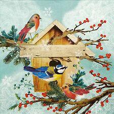4x Single Paper Napkins -X-mas Bird House- for Party, Decoupage