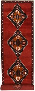 7338 # Stunning Handmade Red Traditional Baluchi Hallway Runner Rug 374 x 82 cm