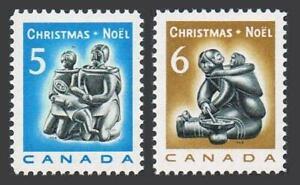 Canada 488-489 blocks/4,MNH.Mi 430-431. Christmas 1968.Eskimo family,carving.