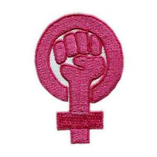 "GIRL POWER IRON ON PATCH 2.3"" Pink Embroidered Applique Feminist Resistance Fist"