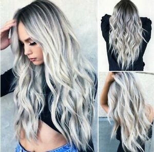 Ash Gray Silver White Ombre Lace Long Wavy Curly Blonde Wig Women Synthetic Hair