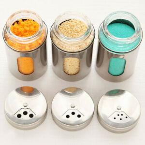 Salt Pepper Sugar Shaker Dredge Dispenser Bottle Can Stainless Steel Kitchen #AU