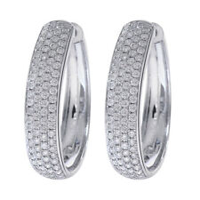 1.75 Carat Diamond Eternity Hoop Earrings 14K White Gold