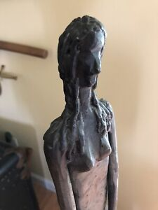 1960's Large Brutalist Steel Abstract Nude Sculpture Giacometti Style
