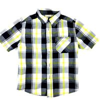 Faded Glory Boys Size Small S 6-7 Yellow Button Down Shirt Plaid Short Sleeve