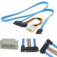 Blue SAS Serial Attached SCSI SFF8482 To SATA Cable HDD Hard Drive Adapter Cord