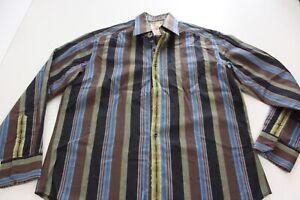Robert Graham Bold Stripe LONG SLEEVE SHIRT Large L Slim 16 x 34/35