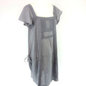Essentials by Set Damen Kleid Tunikakleid  42 XL Baumwolle Grau Boho Np 129 Neu