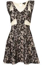 UK 16 Topshop Shoulderpad Black Foiled Lace Cut Out Mesh Detail Skater Dress