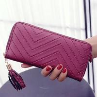 Hot Women Leather Card Holder Long Wallet Clutch Checkbook Tassel Handbag Purse