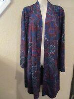 """SUSAN GRAVER Sz PL+ Blue Paisley LS Liquid Novelty Knit Open 35"""" Duster Jacket"""