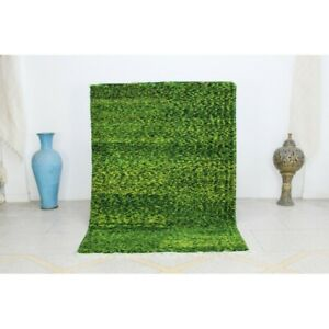 Moroccan Beni Ourain Green Wool Area Rugs Hand-knotted Tribal Berber Rug 5x7 ft