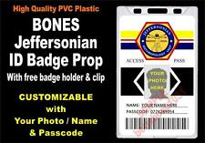 BONES ID Badge / Card Prop ~ CUSTOM W/ YOUR PHOTO / NAME ~ PVC - Jeffersonian ID