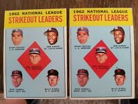 Lot of 2 - 1963 Topps K Leaders Koufax Gibson Drysdale #9 - EST VG/EX (4)