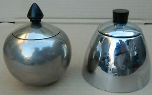 🔴 Two pieces Vintage Art-deco Chrome SUGAR POT with Lid & Bakelite Knob 🔴