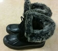 Women's BASS Alps Winter Snow Black Suede & Rubber Duck Boots Size 6