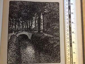 1920s woodcut print La Rigole Du Lampy by Jane Rouquet