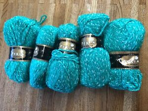 Knitting Crochet Acrylic 5x100g Balls Peria Lux Med Chunky Electric Green Yarn