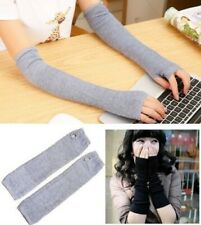 Women Long Arm Warmer Fingerless Sleeves Stretchy Protection Gloves Mittens Grey