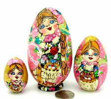 Russian SMALL nesting PINK EGG dolls Pyrography Matryoshka 3 Mamayeva signed ART