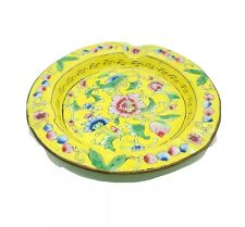 New listing Vintage Chinese Enamel Over Brass Ashtray Flowers Floral Yellow Multi-Color