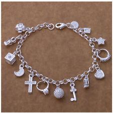 Armkette silber mit 13 Anhänger Bettel-Armband Charm Strass Frau Schmuck
