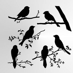 BIRDS SET Reusable Stencil A3 A4 A5 Shabby Chic Nature Mylar Branch Flora/ BIRD6