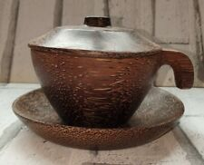 Hand Crafted Coconut Cup Saucer And Lid set Coffee Tea Cappuccino.
