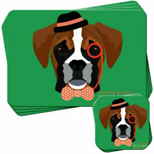 Hipster Bohemian Trendy Boxer Set of 4 Placemats and Coasters