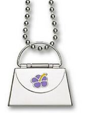 Necklace Enamel Hibiscus Flower Purse Pendant Stainless Steel Ball Chain 22""