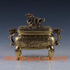 China Brass Handwork carved Dragon   Statue  Incense Burner w Xuande Mark