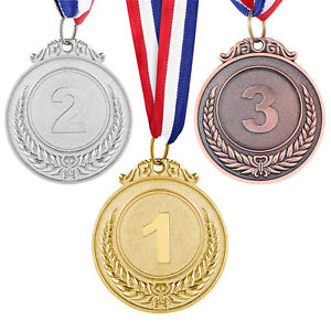 3pcs Metal Award Neck Ribbon Medals Gold Silver Bronze Olympic Style Winner Gift