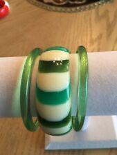 Vintage  Lucite Bangle Bracelets Green Olive White Striped and Translucent 60's