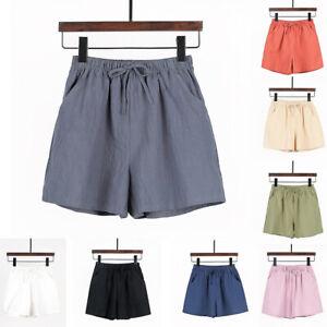 Damen Shorts Kurze Hose Elastische Taille Weites Bein Freizeit Hosen Sommerhose