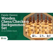 Wooden Folding Chess Checkers Backgammon Set 40cm