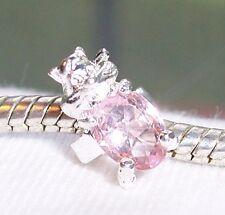 Chipmunk Pink Rhinestone October Birthstone Ring Bead for Euro Charm Bracelets