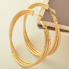 Stunning 9K Solid Gold Plated Womens Hoop Earrings,Z1758